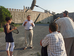 [ Serhan in front of Yedikule Fortress during filming of the documentary 'Ottomans vs Christians' ]