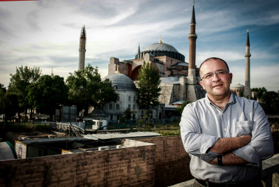 [ Serhan with Hagia Sophia in the background, Istanbul, Turkey ]