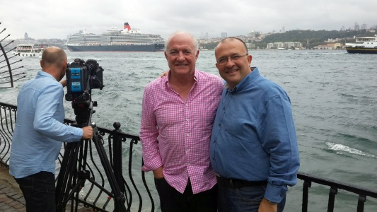 [ Rick Stein and Serhan with Istanbul Straits in the background ]