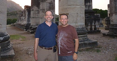 [ Professor Barry Strauss and Serhan, in search of Alexander the Great's footsteps at Sardis, June 2010 ]